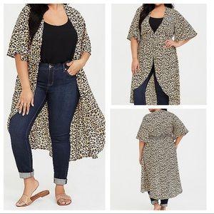 Leopard Print Hi-Low Kimono